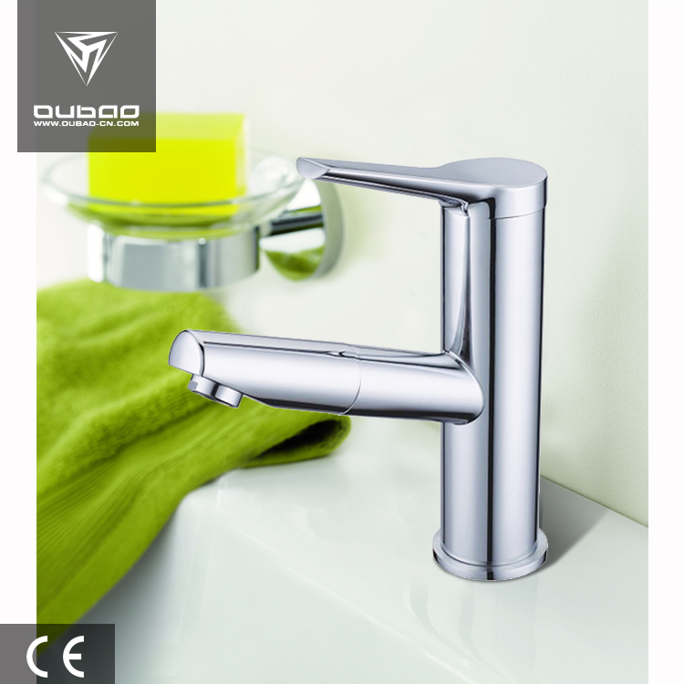 Round Tube Pull Out Basin Faucet Deck Mount Zinc Basin Mixer
