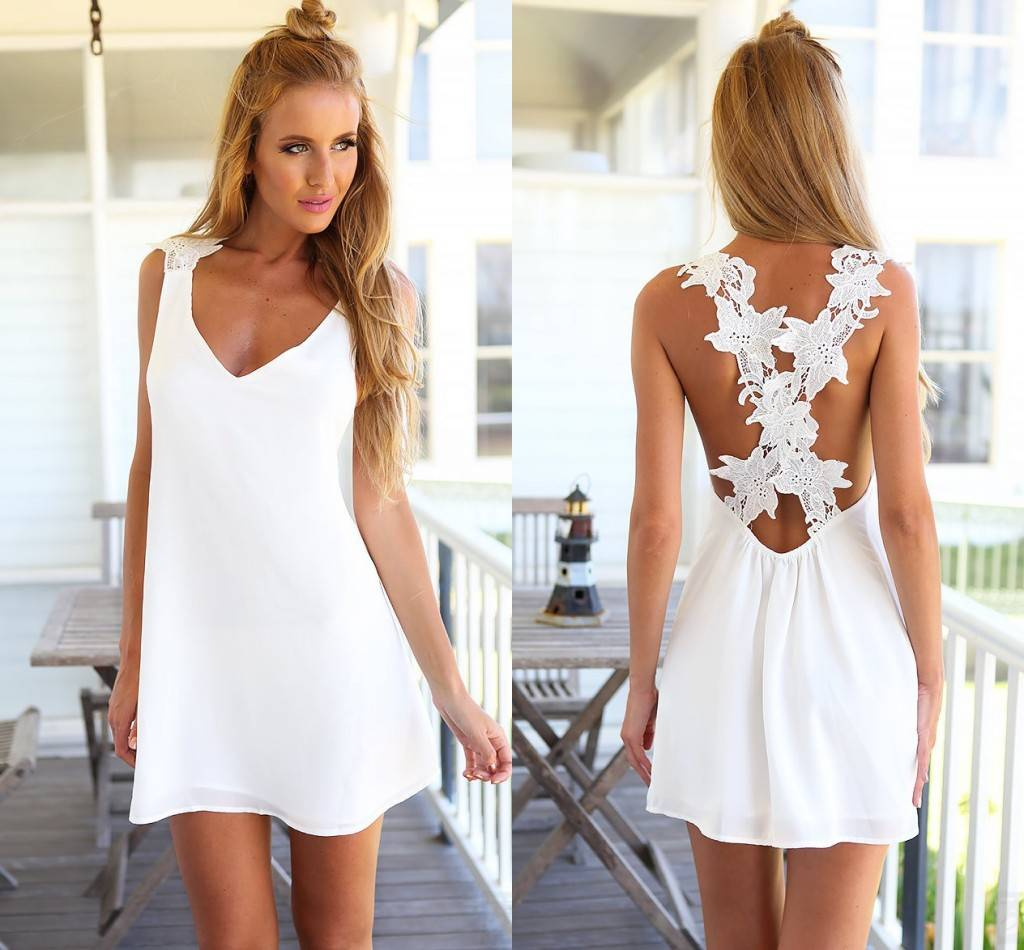 NEW SEXY WOMEN BACKLESS CELEB V NECK CASUAL CROCHET LACE SUMMER BEACH MINI DRESS