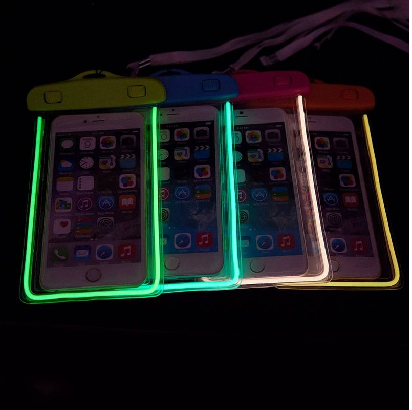 Noctilucent waterproof bag for cell phone