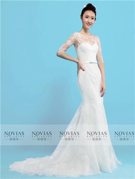 3/4 Sleeve Lace Applique Illusion Lace Back Wedding Gown
