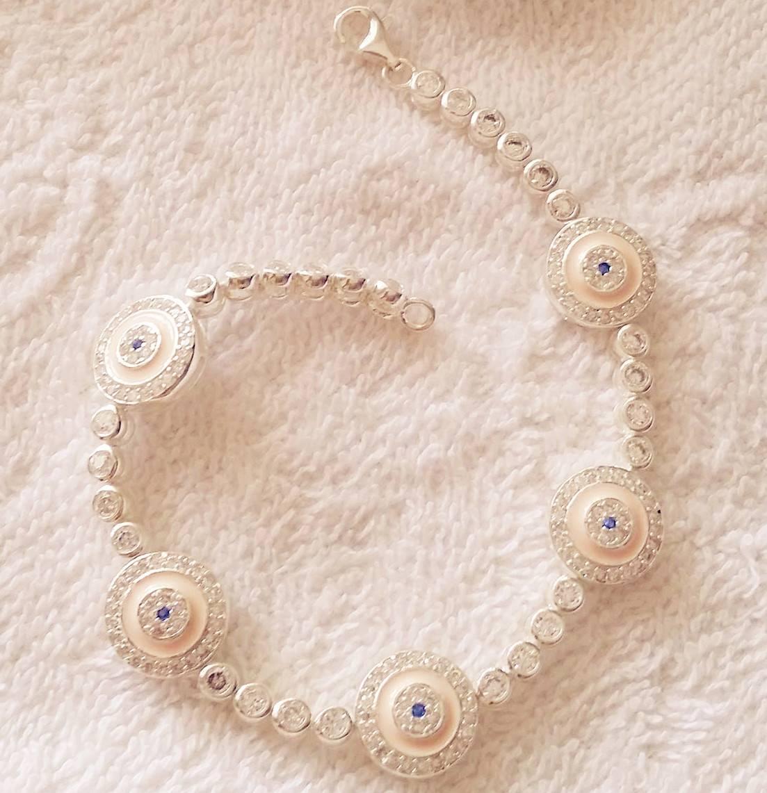925 silver cubic zircon pink evil eye bracelet
