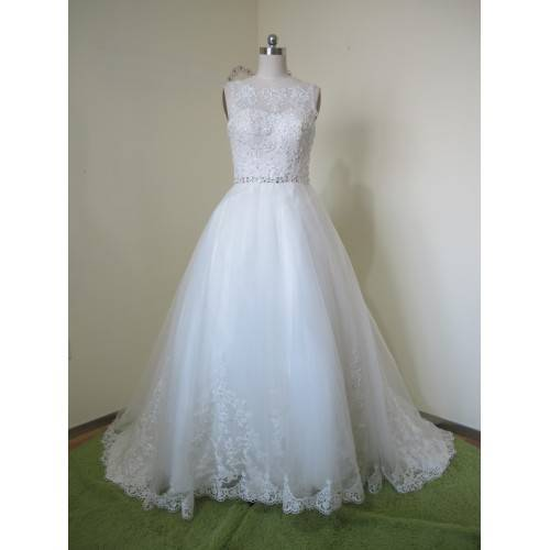 GLAMOROUS BALL GOWN TULLE&SATIN APPLIQUES BATEAU NECKLINE BELT SEQUINS BEADING&CRYSTALS CHAPEL TRAIN