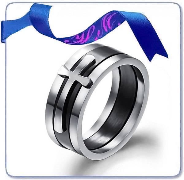fashion slip cross tungsten tat silver ring
