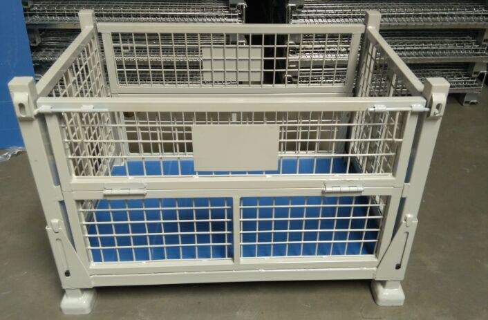 Foldable stackable steel wire mesh container stillage