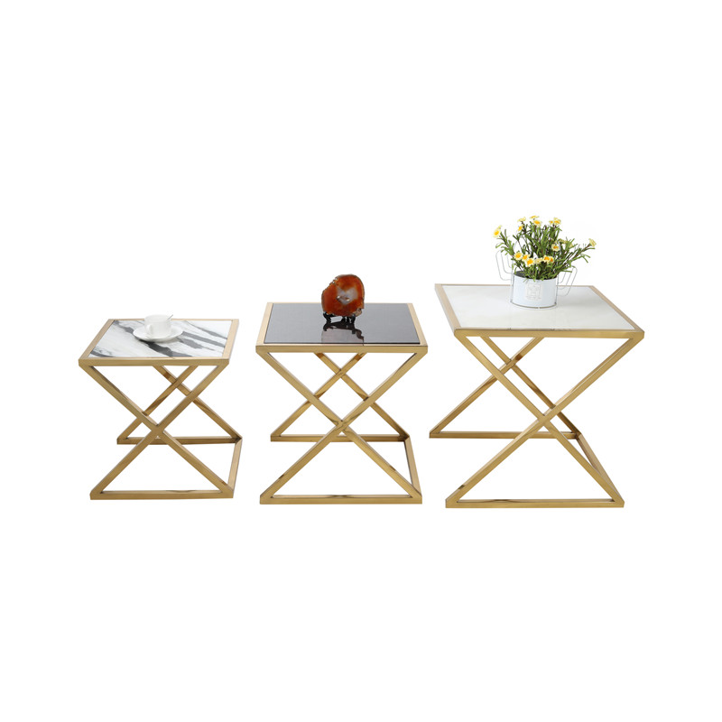 Z gold base multi colors marble side table end table