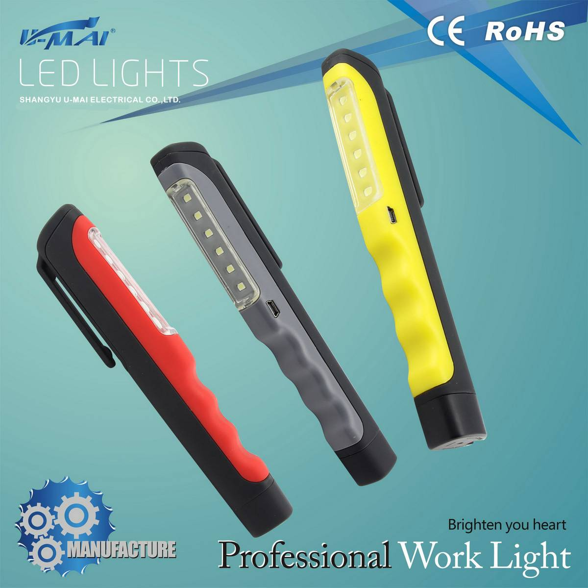 CE&RoHS approved rechargeable 3xAAA batteries 6led pen light & work light