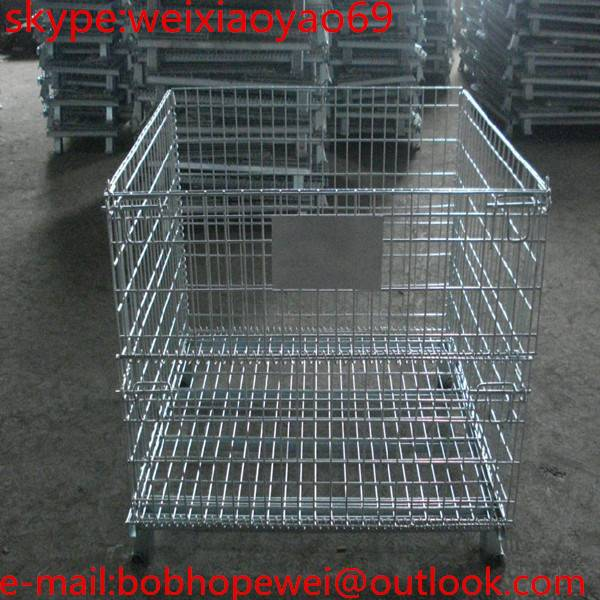 Manufacture standard quality galvanized warehouse stackable storage cage for sale,lockable steel wir