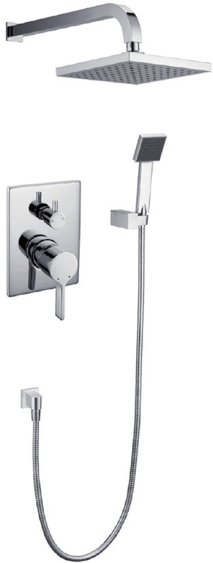 Contemporary chrome brass in-wall bathroom shower faucet