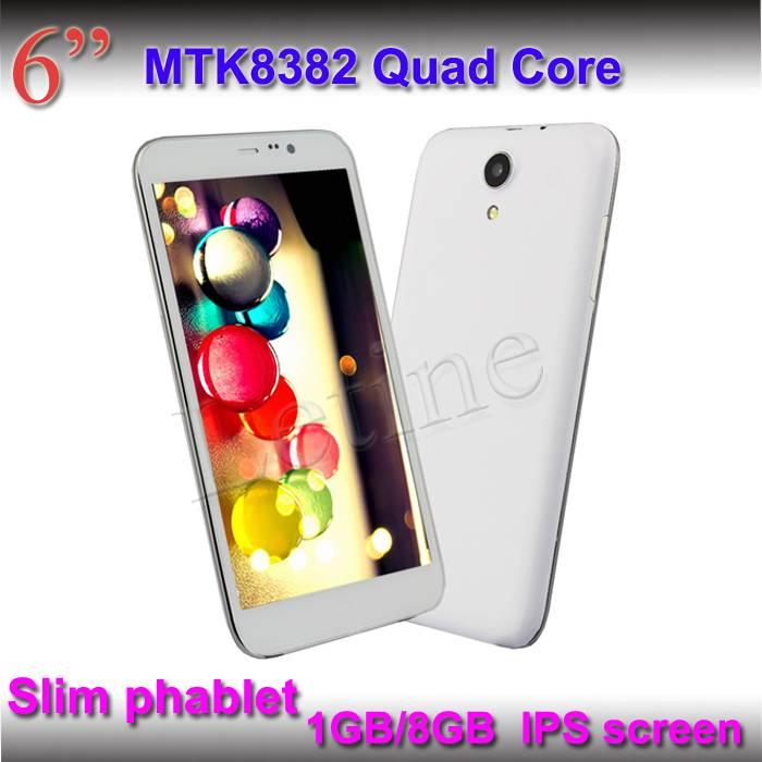 6-inch Tablet Phones, MTK8382 Quad-core CPU/1/8GB, Built-in 3G, GPS, Bluetooth, 2 SIM Card Slots