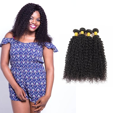 [8A]4 Bundles Brazilian Kinkly Curly Hair Weave