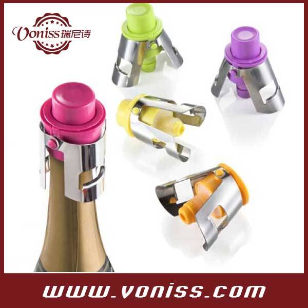 stainless steel Wine Stopper With Wine Preserver Vacuum Pump With Date Indicator, sprayed champagne