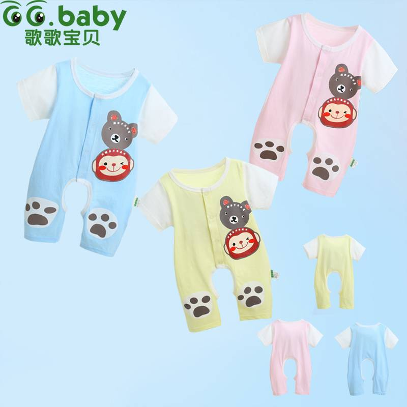 Summer Short Sleeve Baby Clothes For Newborns Unisex Baby Boy Girl Romper Cute Bear Pattern