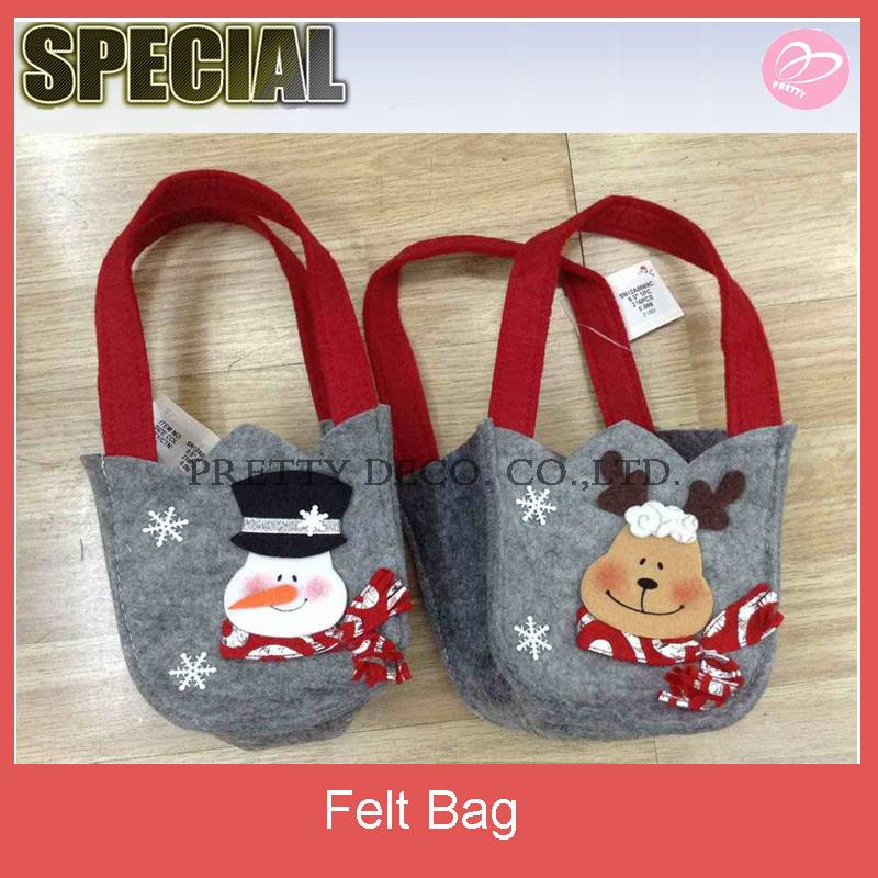 Felt small handle gift bags for christmas