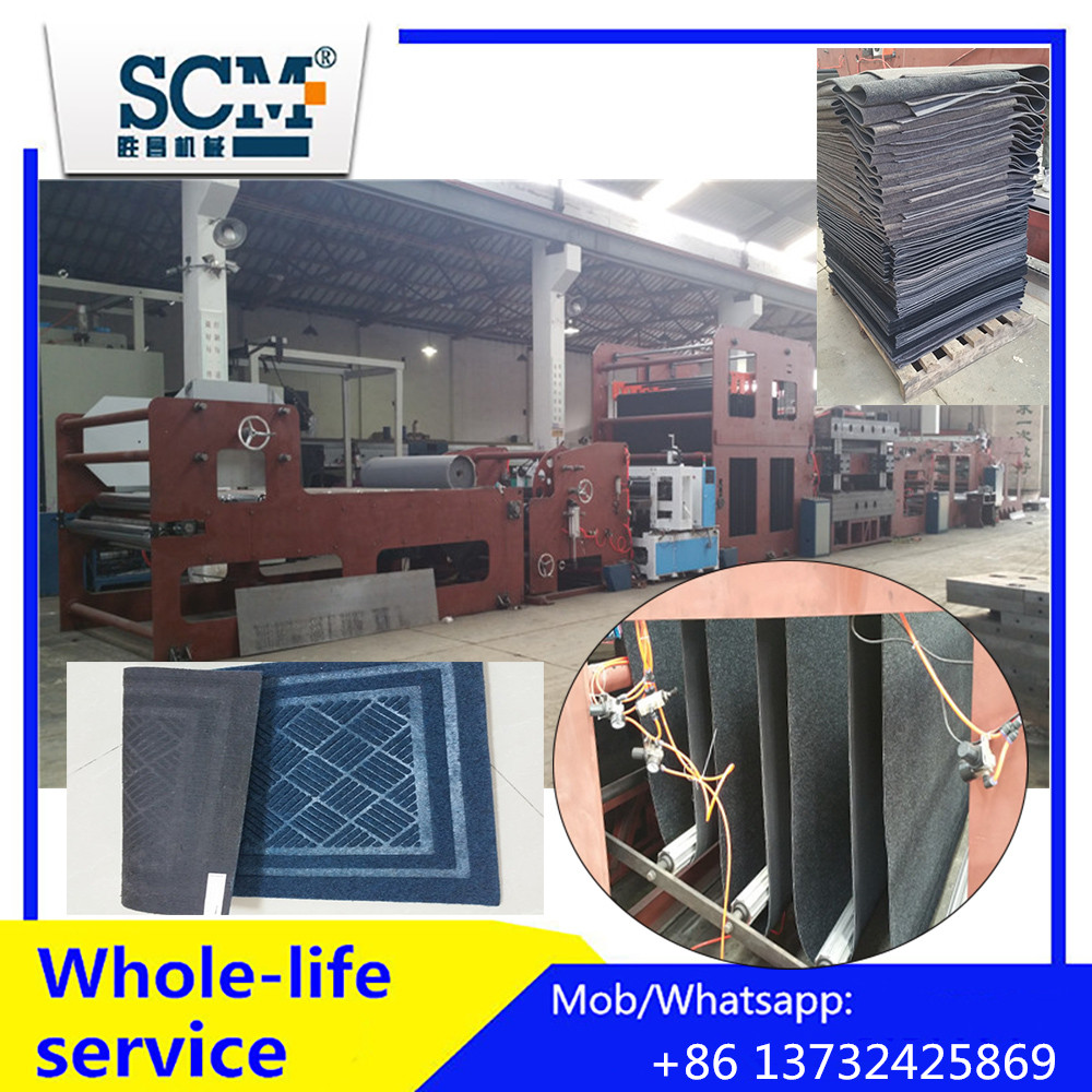Automatic woven/rubber carpet creasing and cutting machine