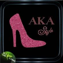 AKA style high heel shoes rhinestone heat transfer glitter vinyl
