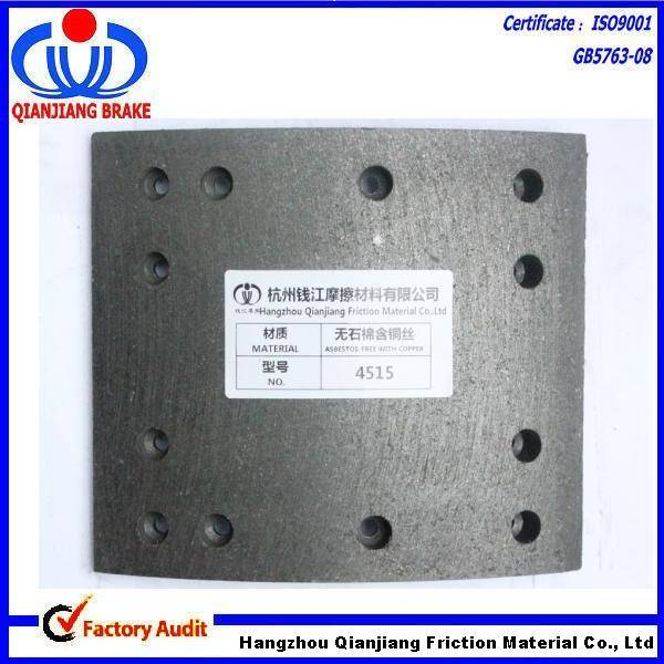 NON-Asbestos Material Brake Lining for Heavy Duty Truck