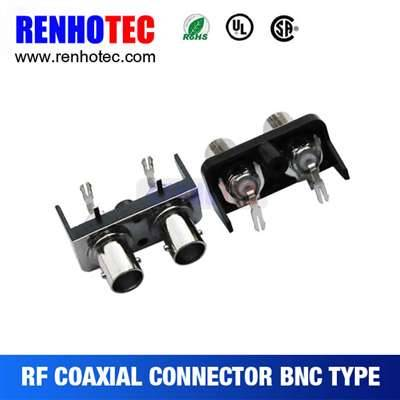 Double Right Angle BNC Jack Connector For PCB Mount