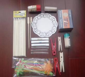 toothpicks, skewers, paper doilies