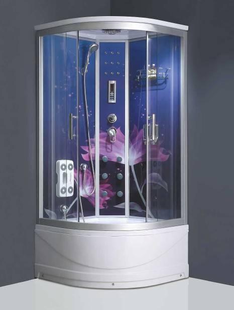 Glass back panel rain shower steam shower cubicle