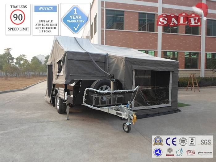 ADRs 62 Off road hard floor camping trailer with 12V / 50 Ah deep cycle battery included.