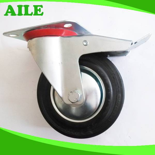 Iron Body Rubber Wheel Caster With Brake