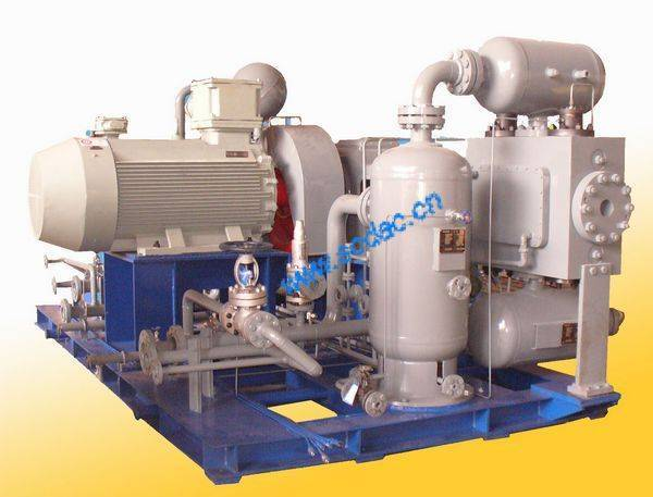 Natural gas compressor with suction pressure 4barg and a discharge pressure of 22.5barg