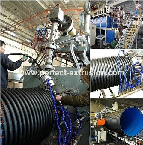 Large Steel Reinforced spiral pipe extrusion line Steel Reinforced spiral pipe extruder