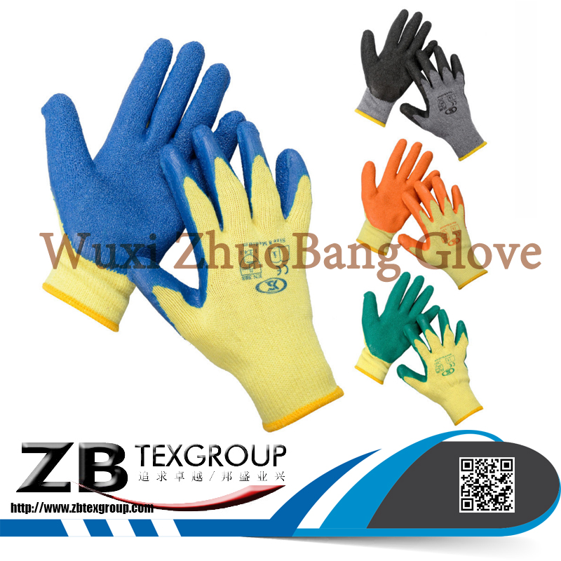 Low Price 10G cotton liner finish green latex coated work glove