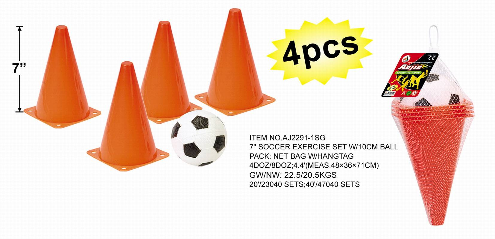 Plastic soccer exercise