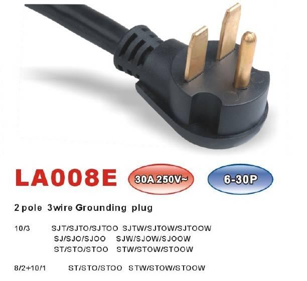 NEMA 6-30P LA008EPower supply cord (2 pole 3 wire Grounding Plug)