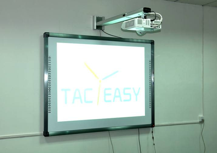 88 Sliver aluminum frame interactive whiteboard with 4 users writing 10 points touching.