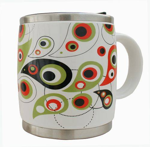 Porcelain Cup/Mug with Stainless Steel Lid and Bottom, Customized Logos and Colors are Accepted