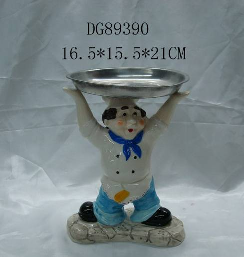 Sell dolomite hasher (chef) figurine with tray
