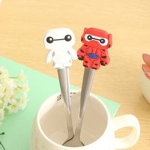 Cartoon silicone handles stainless steel spoon
