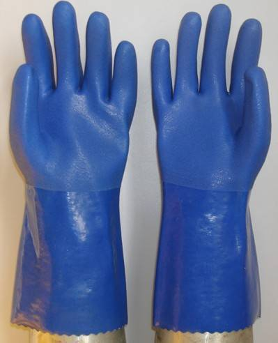 Blue double PVC dipped/coated glove,seamless liner sandy finish 30cm