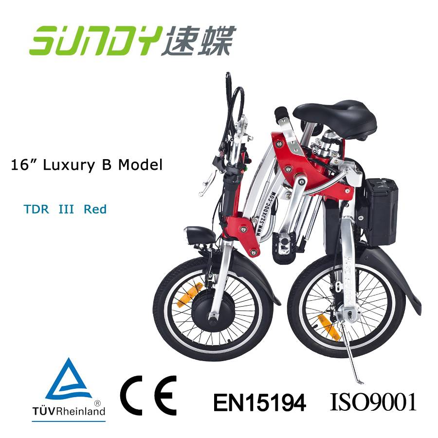 16 Shimano Gear Folding Electric Bicycle-Red