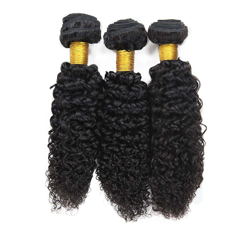 8A Brazilian Jerry Curly Human Virgin Hair Weave 3 Bundles With Lace Closure
