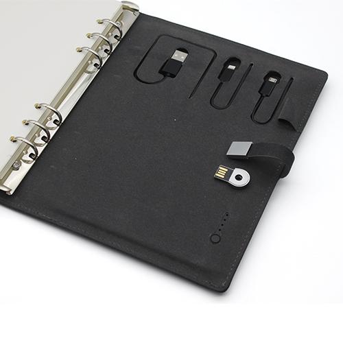 6000mAh PU notebook power bank with USB flash drive