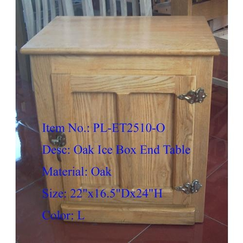 Oak Ice Box End Table
