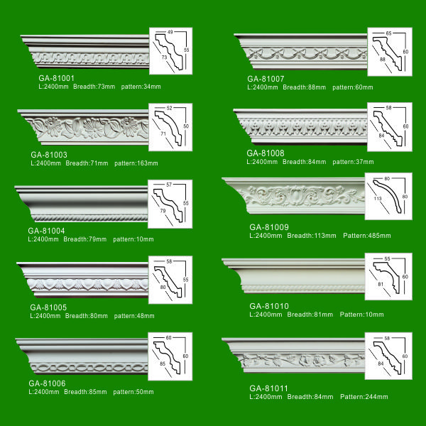 Factory Price PU Foam Carved Crown Cornice Mouldings