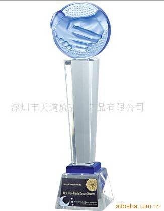 hot-sell lead crystal trophy/win cooperation liu li trophy