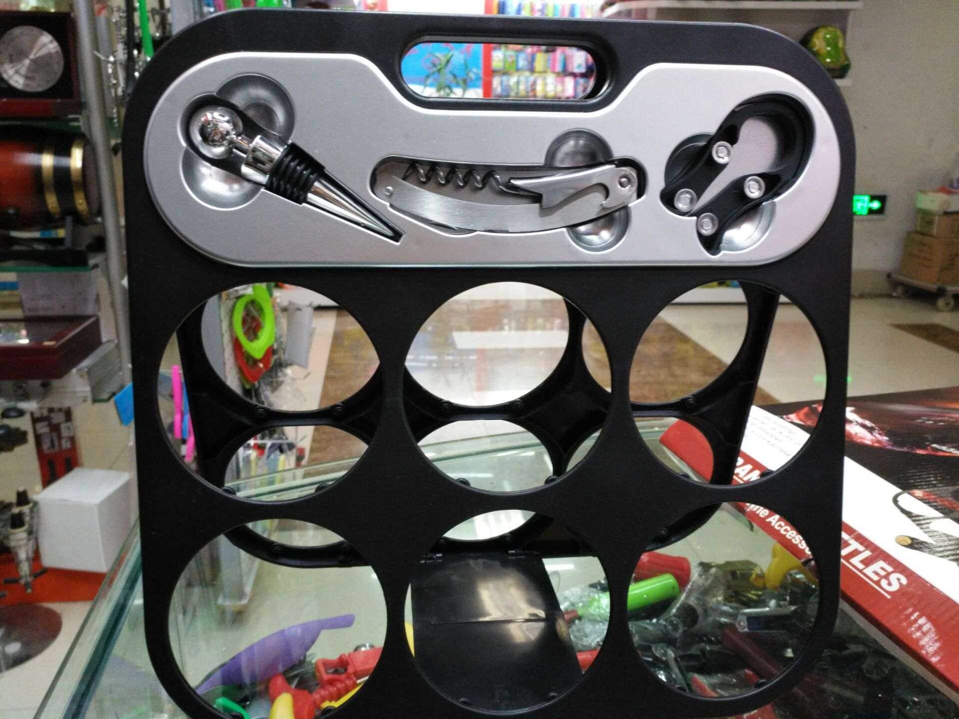 for 6 bottles wine rack with wine accessories gift set