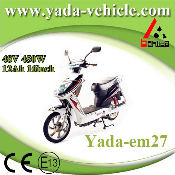 48v 450w 12ah 16inch disc brake sport style electric scooter motorcycle (yada em27)
