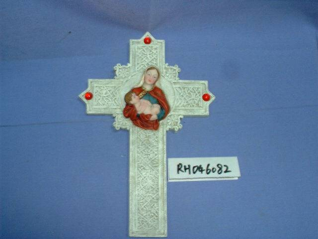Poly resin religious cross, crucifix