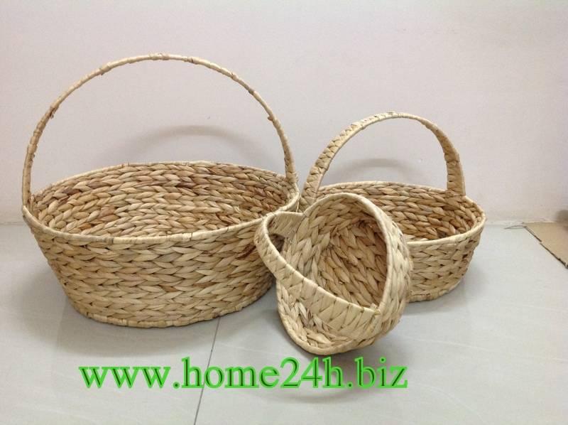 Natural Round Basket Water Hyacinth Set of three