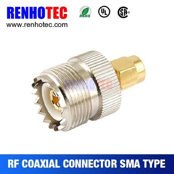 Gold plated RF Adapter SMA male to UHF female Adapter