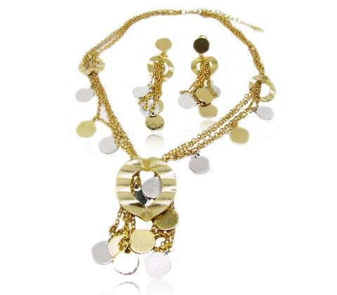Wholesale Individualized fashion jewelry set with heart shape decoration and tassel