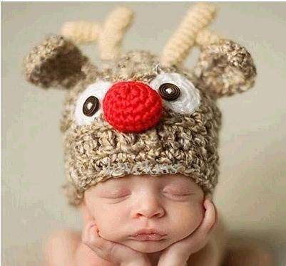 New Design Baby Photography Props Fashion Christmas Deer Pattern Hat