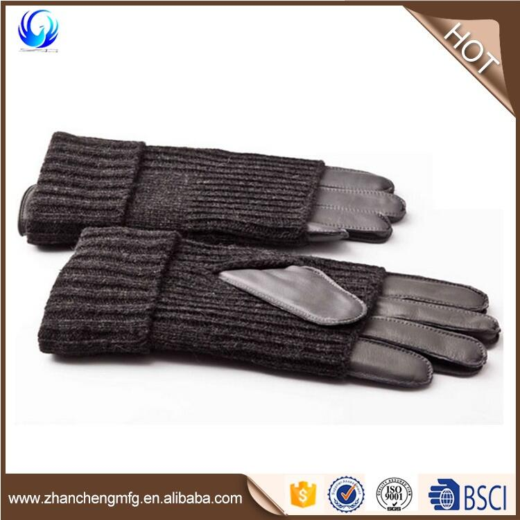 Mens Fashion cycle Cover Sheepskin Leather Warm Gloves