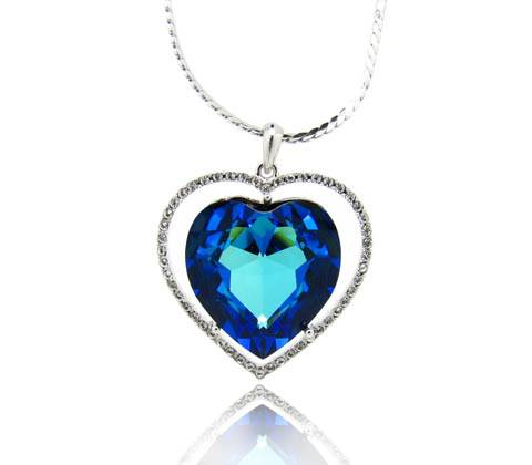 Wholesale Royal style attractive ocean heart long chain with crystal sahara Swarovski element surrou